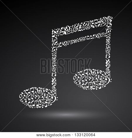 Music note made of music notes on black background. White notes pattern. Note shape. Poster and decoration idea.