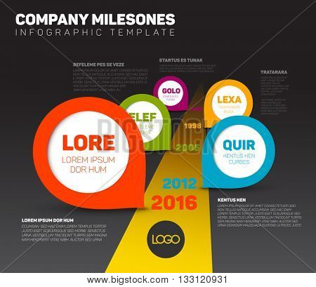 Vector dark Infographic Company Milestones Timeline Template with pointers on the road with yellow dividing line