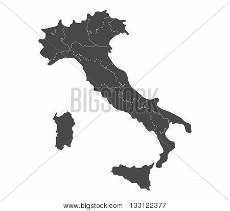 map of Italy with regions illustrated on a white background