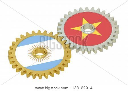 Argentina and Vietnam flags on a gears 3D rendering isolated on white background