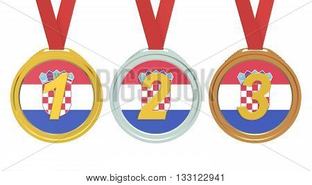 Gold Silver and Bronze medals with Croatia flag 3D rendering