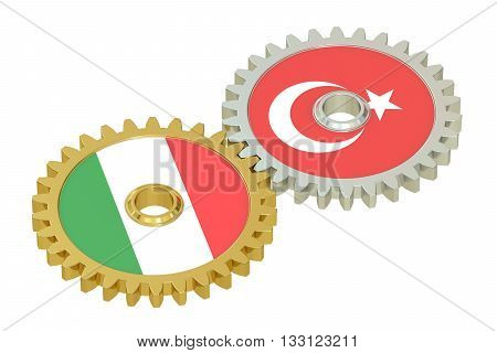 Italy and Turkey flags on a gears 3D rendering isolated on white background