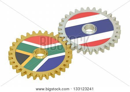 South Africa and Thailand relations concept flags on a gears. 3D rendering isolated on white background