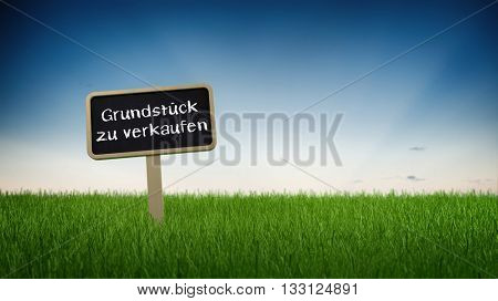 Sign Posted in Long Green Grass in front of Blue Sky with Rising or Setting Sun Reading Property for Sale or Grundstuck zu Verkaufen with Copy Space. German Language. 3d Rendering.
