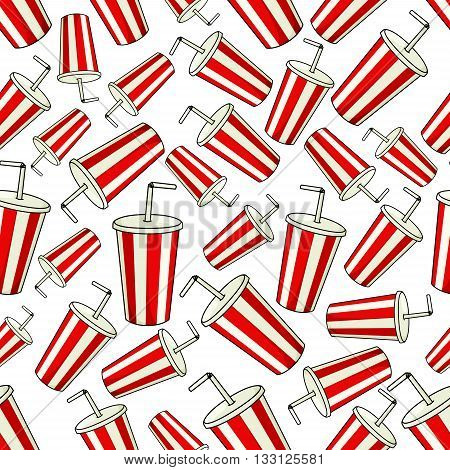 Traditional striped paper cups of sweet soda with drinking straws seamless pattern background with disposable cups of fast food soft drink with red and white stripes. May be use as cafe interior or entertainment theme design