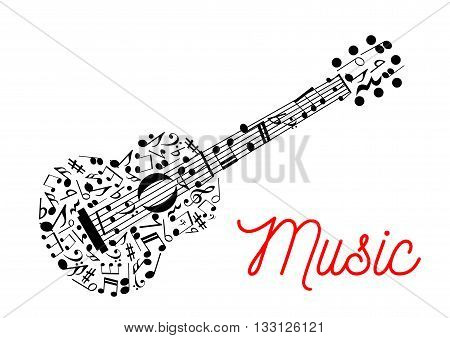 Acoustic guitar composed of musical stave with notes symbol for music, arts and entertainment design usage with treble and bass clefs, chords and rests