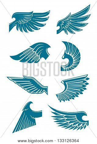 Blue wings heraldic symbols for tattoo, t-shirt print or emblem design with angel or bird wings with long and stiff flight feathers and curved shoulders