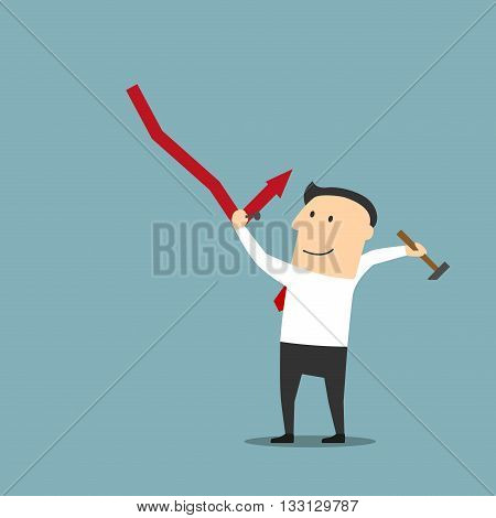 Crisis management, adjustment and control concept design. Smart cartoon businessman fixing decreasing financial graph with hammer and nails poster