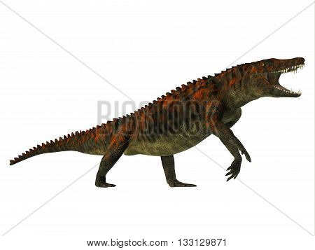 Uberabasuchus Side Profile - Uberabasuchus was an archosaur carnivorous crocodile that lived in the Cretaceous Period of Brazil. poster
