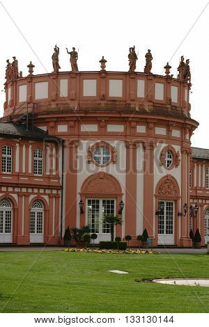 WIESBADEN, GERMANY - APRIL 21: The rear view of the castle Biebrich with tower at the park on April 21, 2016 in Wiesbaden.