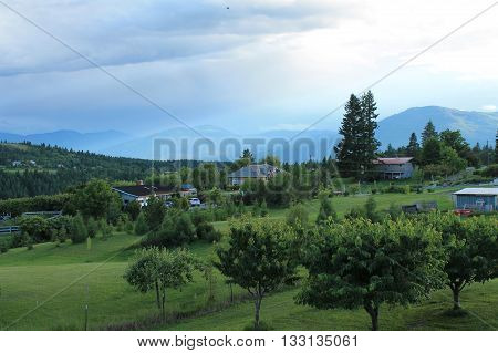countryside view from an cherry orchard with blue sky
