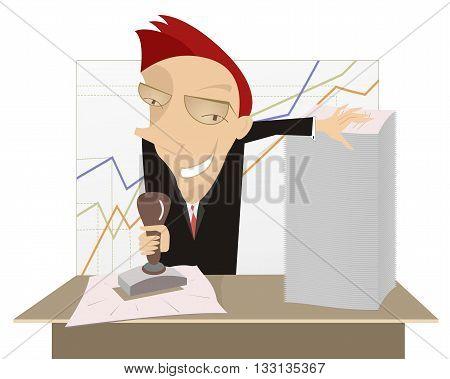 Good job. Cartoon cheerful businessman stamps on documents