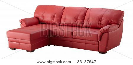 Red Leather Cornaer Sofa