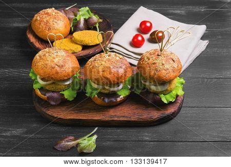 Vegan Burgers With Vegetables