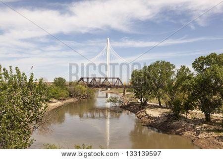 DALLAS USA - APR 7: The Margaret Hunt Bridge designed by Santiago Calatrava - a new landmark in Dallas. April 7 2016 in Dallas Texas USA