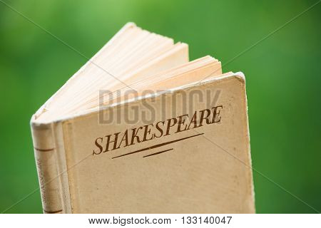 An Old Shakespeare Book on Blurred Green Background