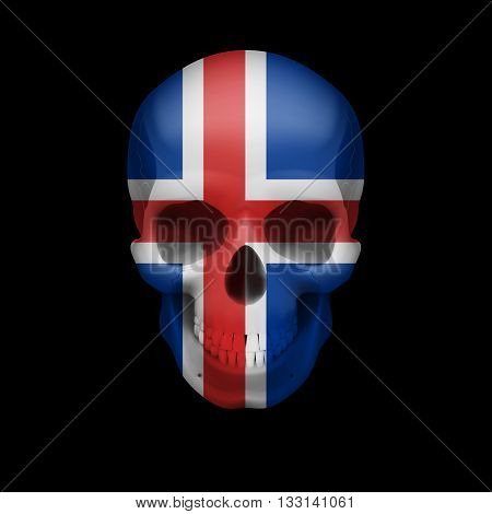 Human skull with flag of Iceland. Threat to national security war or dying out