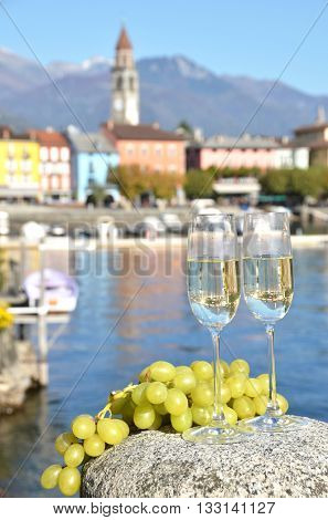 Two champagne glasses. Ascona, Switzerland