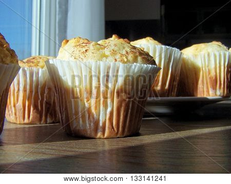 Large  apple vanilla cupcakes - still life close up