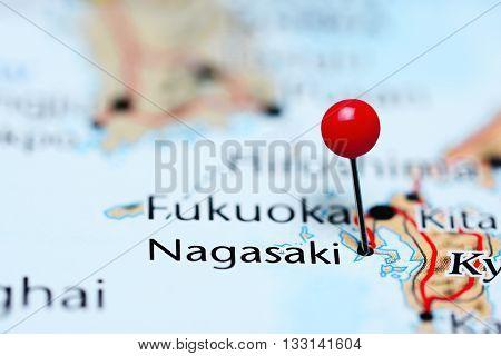 Nagasaki pinned on a map of Japan