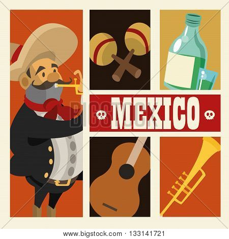 Mexico  concept with culture icon design, vector illustration 10 eps graphic.