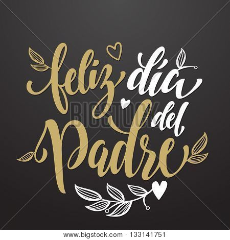 Feliz Dia del Padre vector greeting card text. Father Day text with flourish pattern. Spanish hand drawn calligraphy flourish lettering. Background wallpaper.