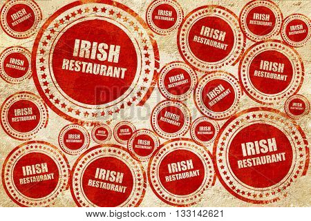 Delicious irish cuisine, red stamp on a grunge paper texture