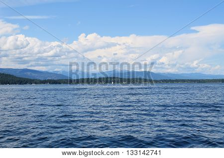 clear water with blue clear sky on a lake