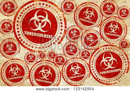 Tuberculosis virus concept background, red stamp on a grunge pap