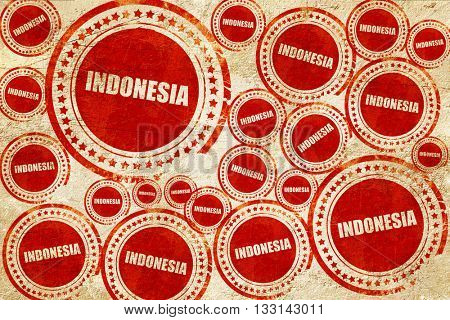 Greetings from indonesia, red stamp on a grunge paper texture