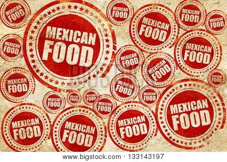 mexican food, red stamp on a grunge paper texture