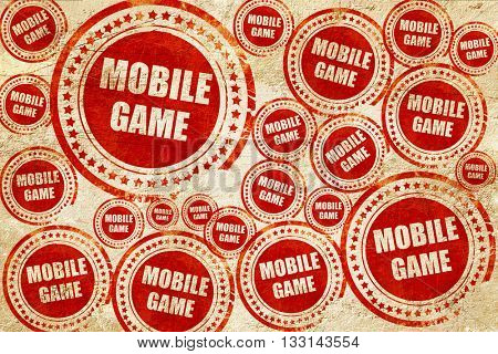 mobile game, red stamp on a grunge paper texture