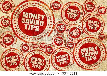 money saving tips, red stamp on a grunge paper texture