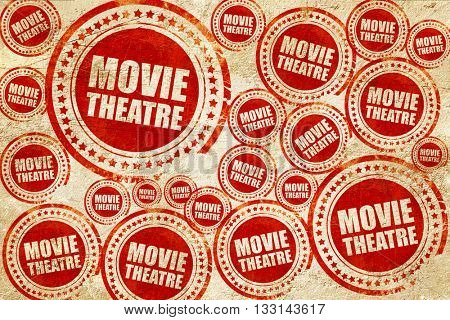 movie theatre, red stamp on a grunge paper texture