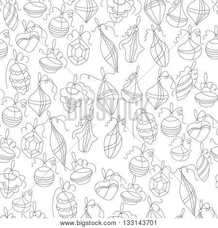 Seamless festive pattern with contour traditional Christmas symbols. Black and white, outline. Endless texture for Christmas design, fabrics, wallpapers, greeting cards, wrappings, advertisement.