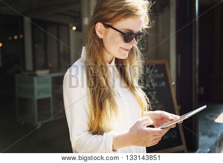 Woman Devices Technology Tablet Outdoor Concept