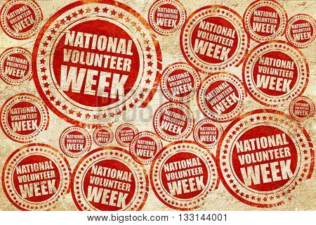 national volunteer week, red stamp on a grunge paper texture