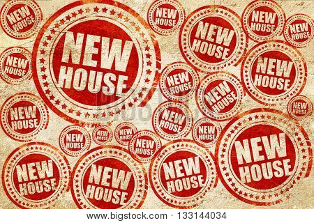 new house, red stamp on a grunge paper texture