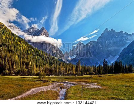 Dolomites Italy val di Fiscalina view to croda dei Toni