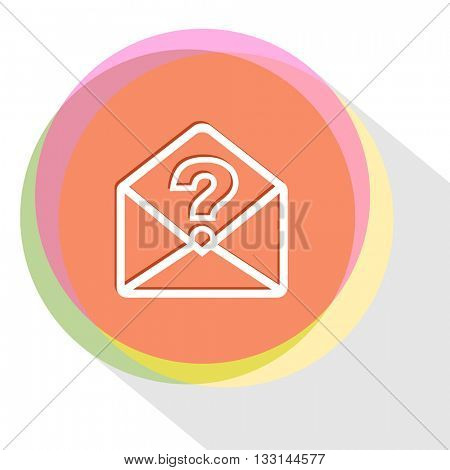 mail with query sign. Internet template. Vector icon.