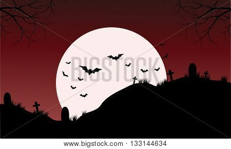 Silhouette of Tomb and bat Halloween with full moon