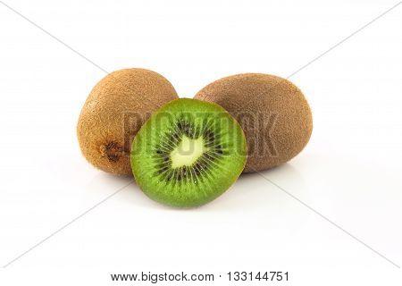 Kiwi fruit isolated on a  white background.
