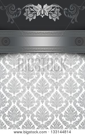 Vintage silver background with decorative border and old-fashioned patterns.