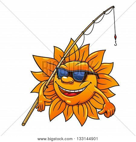 Happy smiling cartoon sun character in sunglasses going to fishing with bamboo fishing rod. Great for leisure activity symbol or summer season mascot design usage