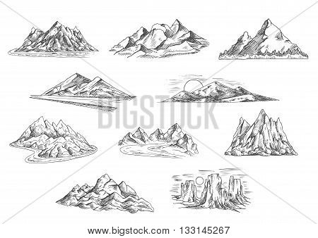 Sketched mountain landscapes icons for hiking tourism, adventure and nature themes design with rocky mountain ridges and summits, sunsets over hills and tower rocks, mountain valleys with dangerous roads and fast rivers