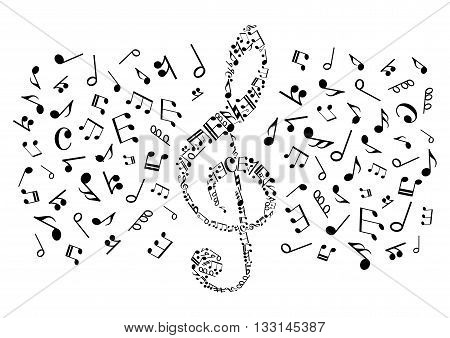 Decorative music symbol of treble clef compounded of musical notes and rests of different durations, bass clefs and various marks of musical notation. May be use as music themed t-shirt print or entertainment design