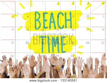 Beach Time Coast Ocean Sea Shore Vacation Concept