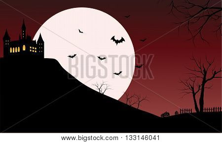 Silhouette of castle with full moon and red sky