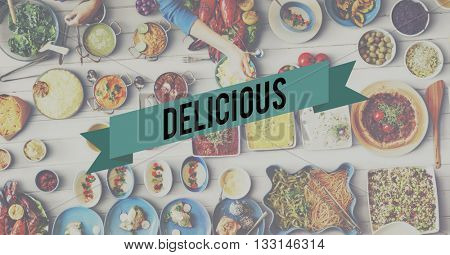 Delicious Food Eating Party Celebration Concept