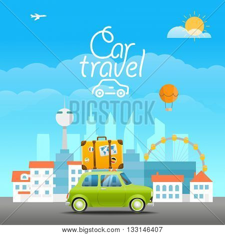 Vacation travelling concept. Vector travel illustration with the car.